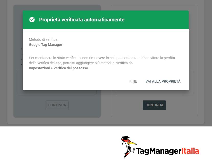search console proprietà verificata con Google Tag Manager
