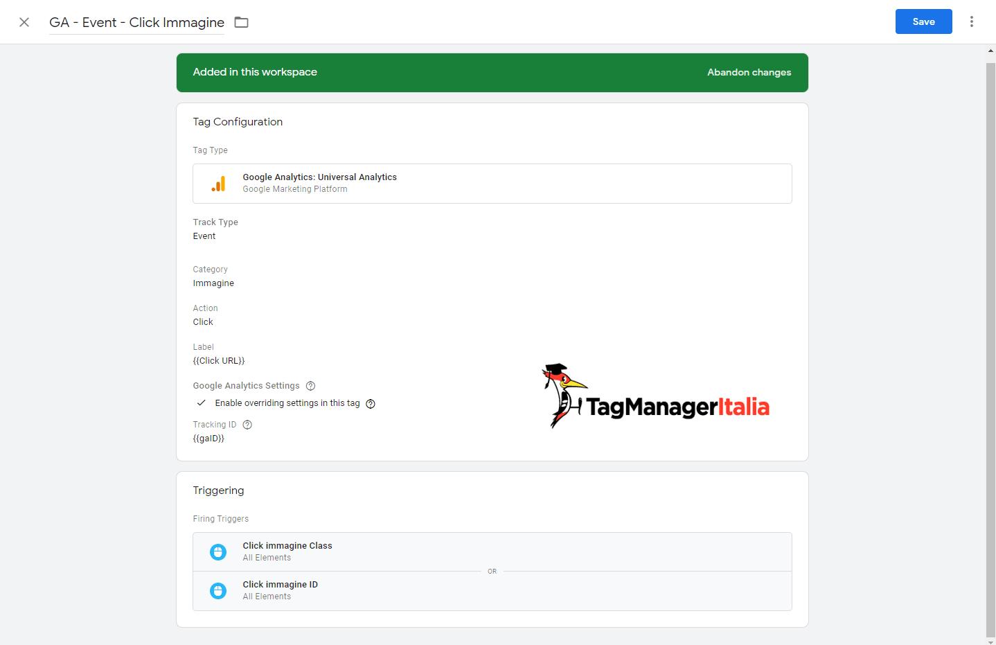 tag tracciare click immagine google tag manager con il tag di GA