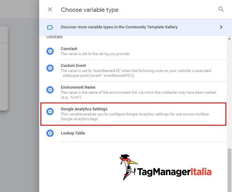 variabile impostazioni google analytics google tag manager