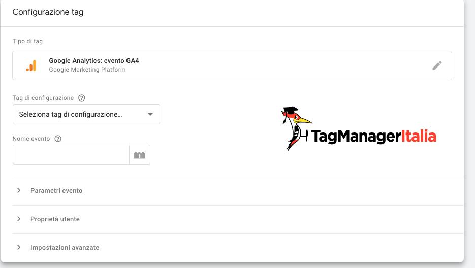 Dettaglio configurazione Tag Google Analytics 4 in Google Tag Manager