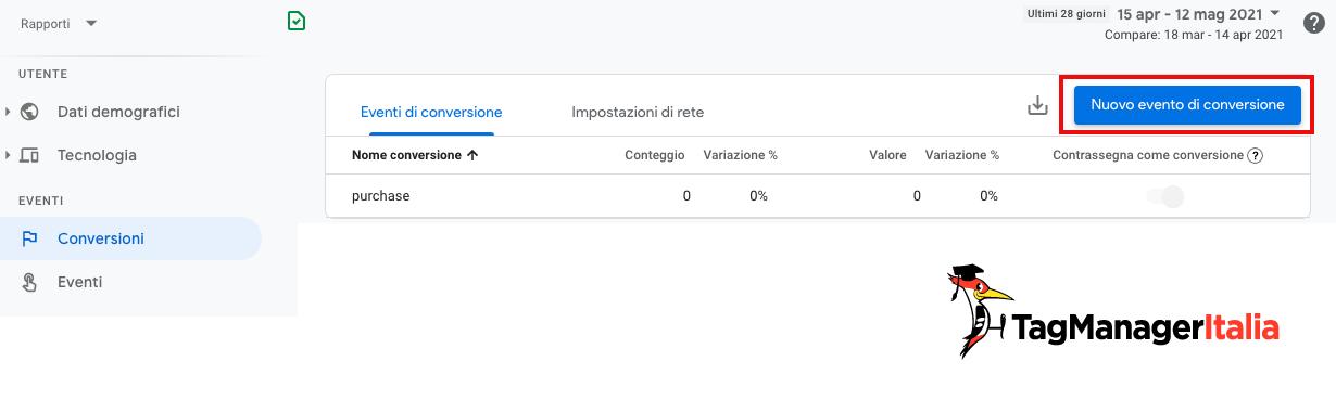 Creazione nuovo evento conversione in google analytics 4