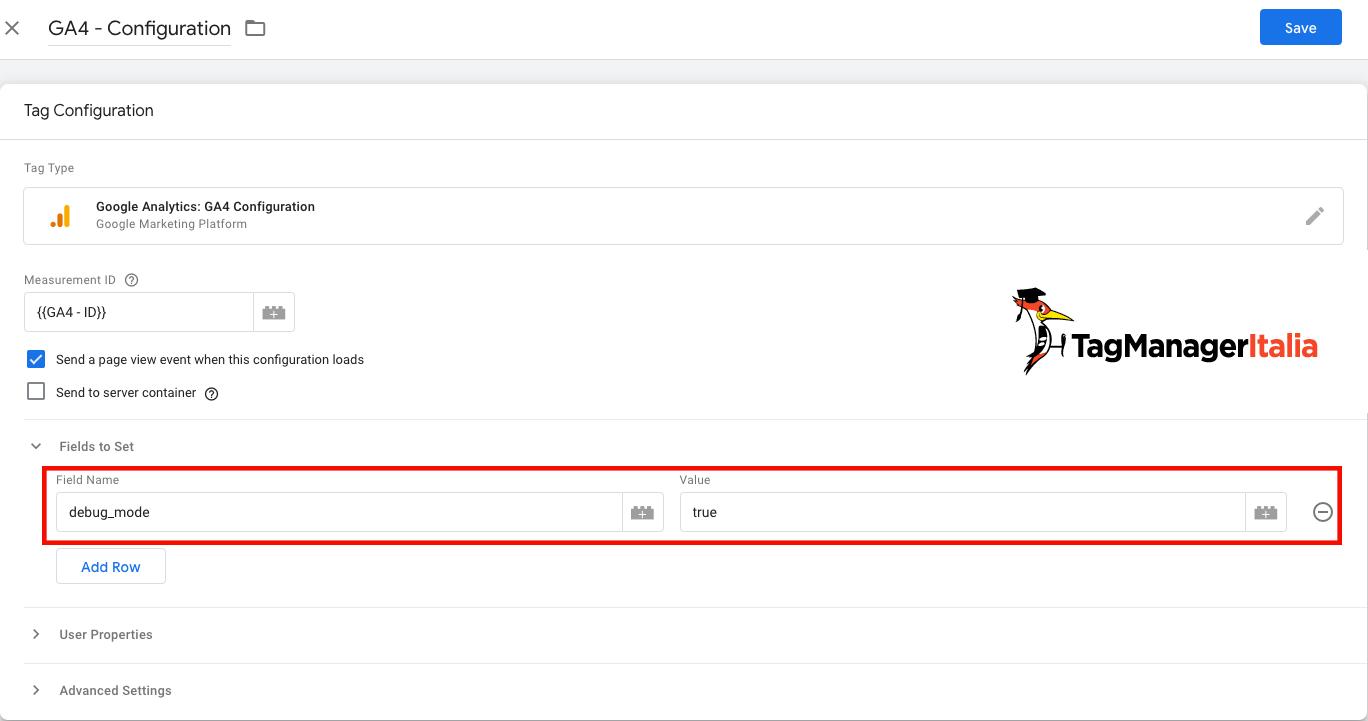 aggiungere il parametro debug_mode al tag di configurazione di GA4