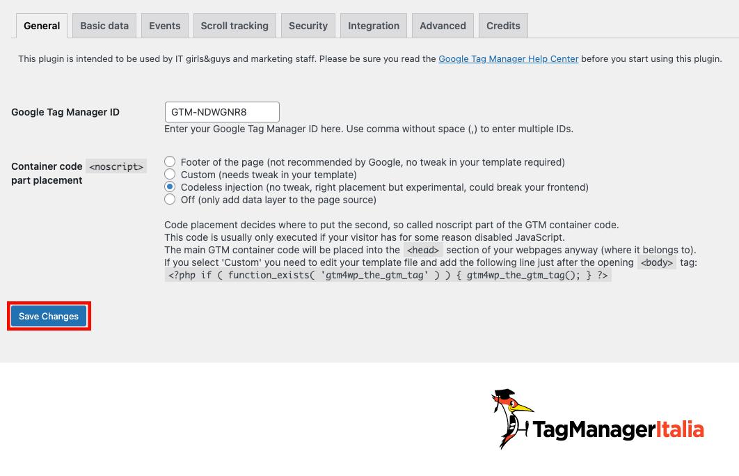 Inserire ID di Google Tag Manager