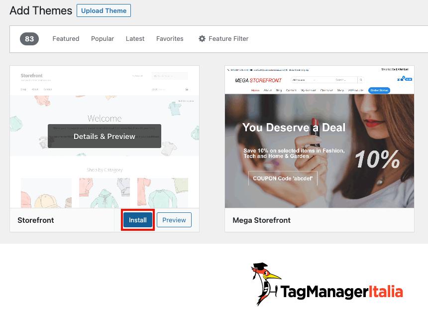 installare il nuovo tema sito demo woocommerce