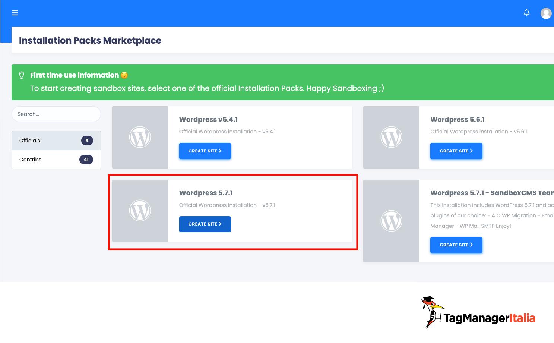scegliere la versione di wordpress per il sito di demo