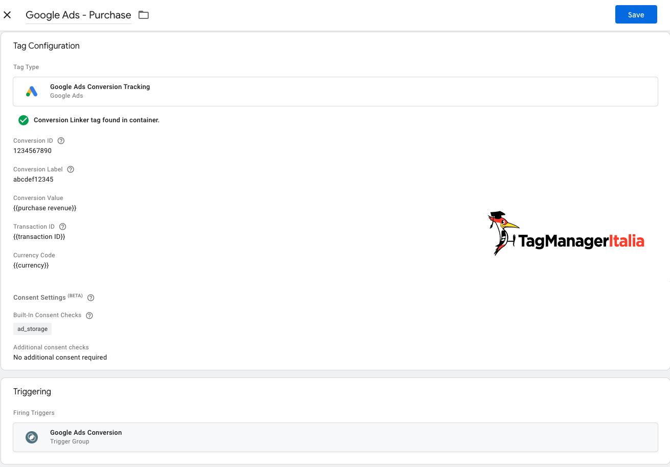 tag con attivatore conversione google ads e consent mode gtm