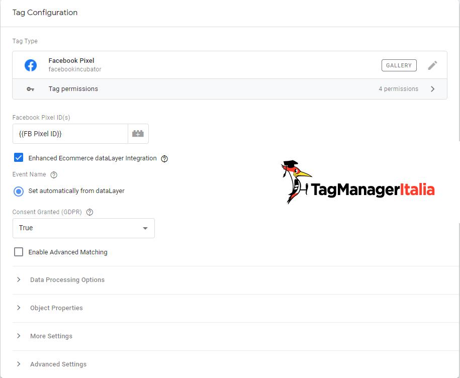 Tag Facebook Pixel con integrazione Enhanced Ecommerce attivata