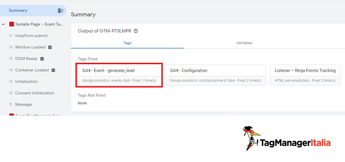 Tag evento Google Analytics 4 compilazione ninja forms fired