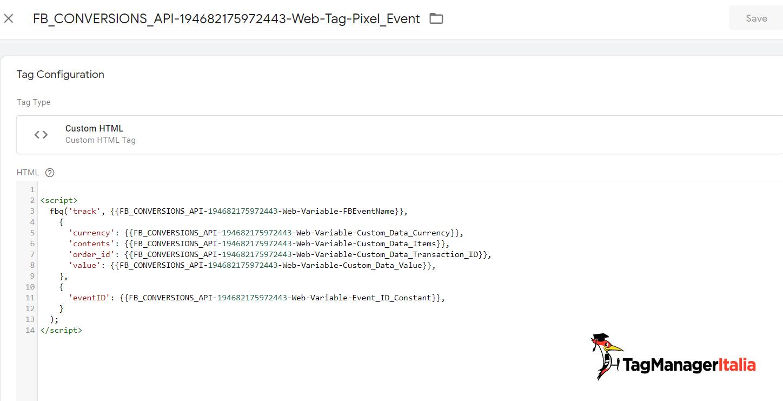 Tag evento pixel di facebook creato dall'integrazione conversion API