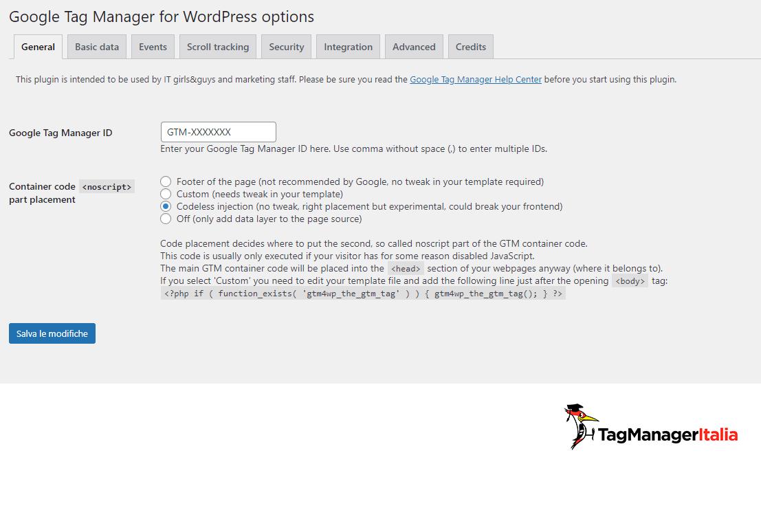 configurazione plugin google tag manager for wordpress