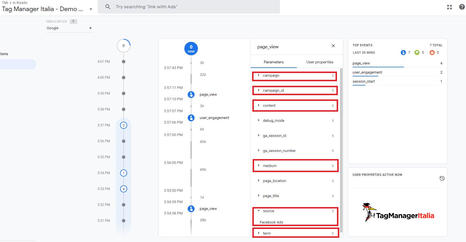 debug GA4 UTM parameters in Google Tag Manager