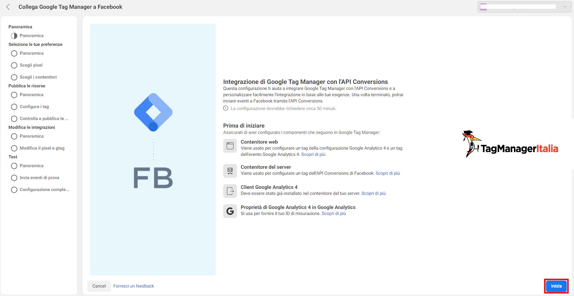 i requisiti iniziali per configurare conversion API facebook con GTM server-side