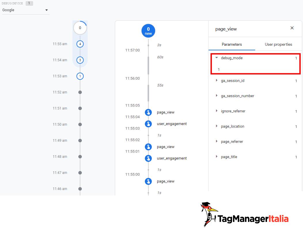 parametro debug mode con valore 1 eventi GA4