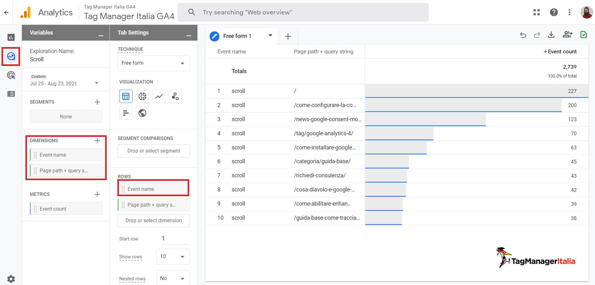 report explore in Google Analytics 4