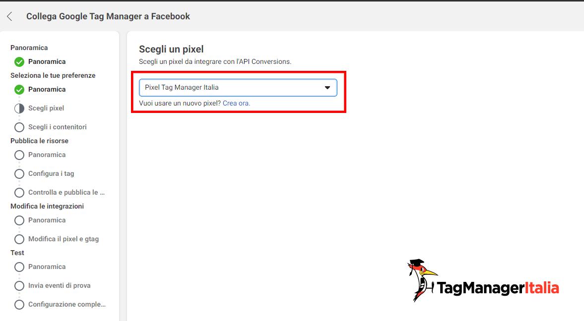 scegli il pixel da utilizzare per configurare conversion API facebook