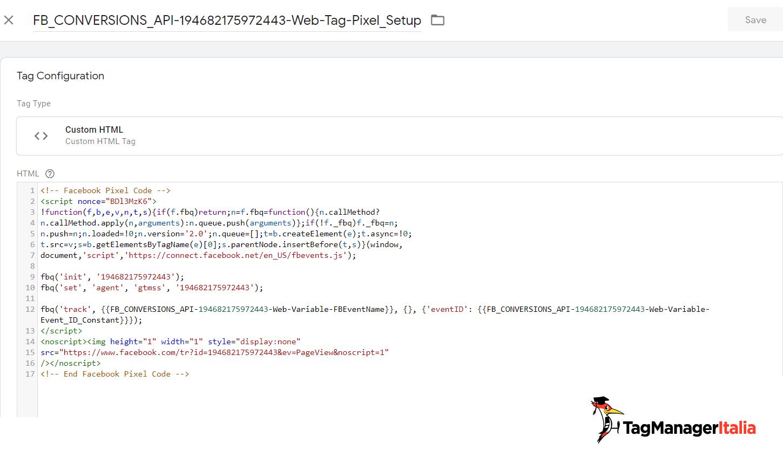 tag installazione pixel di facebook creato dall'integrazione conversion API
